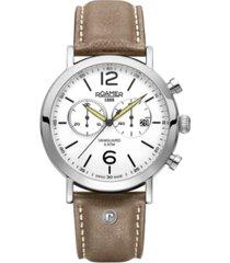 roamer men's chronograph 42 mm dress watch in stainless steel case on strap