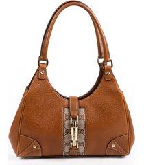 gucci bardot small brown leather gg canvas shoulder bag brown/monogram sz: s