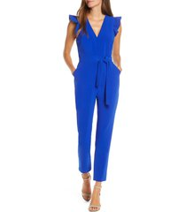 adelyn rae cai ruffle cap sleeve jumpsuit, size large in cobalt at nordstrom
