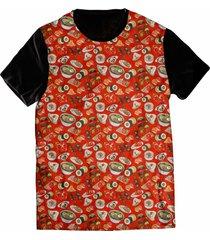 camiseta elephunk estampada comida japonesa foodporn preta - kanui