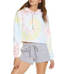 women's bella+canvas crop tie dye hoodie, size x-small - pink