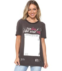 camiseta my favorite thing(s) estampada marrom - marrom - feminino - algodã£o - dafiti