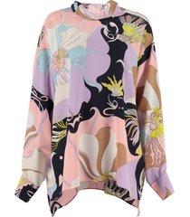 emilio pucci mirabilis printed silk blouse