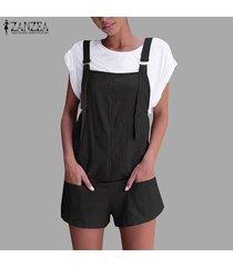 zanzea mujeres más holgados sin mangas sólidas monos pantalones mameluco mini hot shorts -negro