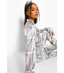 satijnen bandana print pyjama set met broek, white