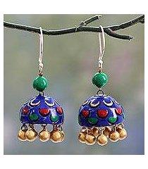 ceramic dangle earrings, 'royal blue regalia' (india)