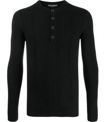 dolce & gabbana ribbed buttoned jumper - black