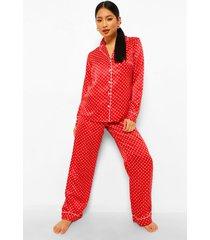 petite driedelige satijnen pyjama set broek en elastiekje, red