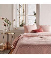narzuta pled i 2 poszewki na poduszki różowe