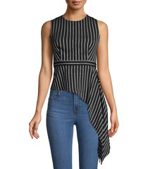 bcbgmaxazria women's assymetric draped stripe top - black combo - size xxs