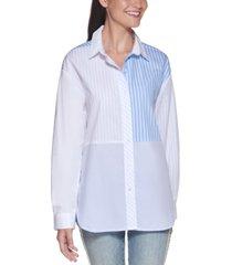 karl lagerfeld paris multi-stripe cotton poplin shirt