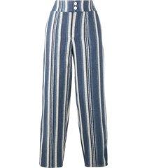 chloé striped canvas trousers - blue