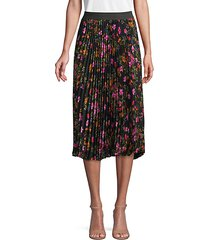 mixed-print pleated skirt