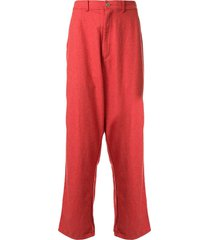 comme des garçons pre-owned cropped drop-crotch trousers - red
