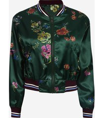 giacca con cerniera per colletto vintage con stampa floreale
