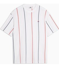 mens white stripe pique organic cotton t-shirt
