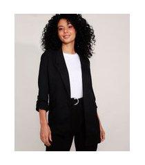 blazer alongado com martingale preto