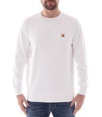 maison kitsune fox head patch sweatshirt |white| 303km01-wht