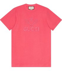 gucci t-shirt with gucci tennis - pink