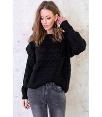 trui met kabel zwart