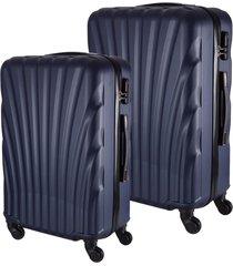 conjunto de mala de viagem em abs fuseco qlink 12 cadeado embutido rodas 360º 2 peças p/m azul azul