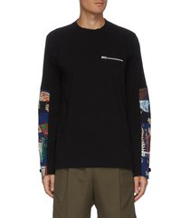 archive print patchwork sleeve t-shirt