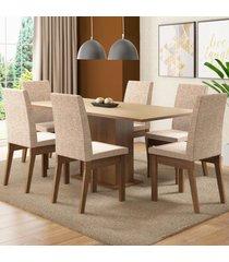 conjunto sala de jantar madesa cecãlia mesa tampo de madeira com 6 cadeiras marrom - marrom - dafiti