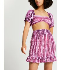 river island womens pink shirred tie dye co-ord