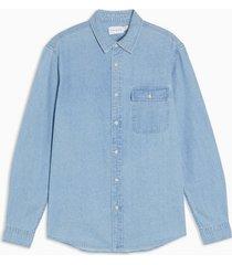 mens mid blue rigid denim shirt