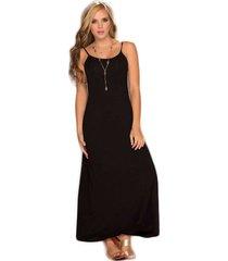 vestido largo en viscosa negro