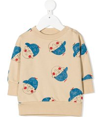 bobo choses graphic-print organic cotton sweatshirt - neutrals