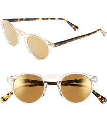 oliver peoples gregory peck 47mm retro sunglasses in yellow/gold mirror at nordstrom