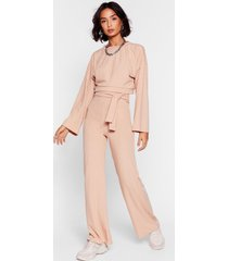 womens rib's time to chill top and wide-leg pants set - sand