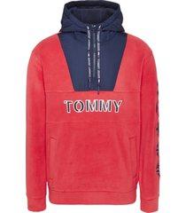 buzo tommy logo zip hoodie rojo tommy jeans