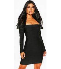 bardot-jurk met lange mouwen en bardot-print, zwart