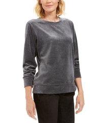 karen scott sport velour sweatshirt, created for macy's