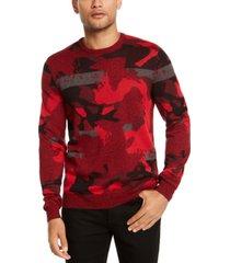 alfani men's abstract jacquard crewneck sweater, created for macy's