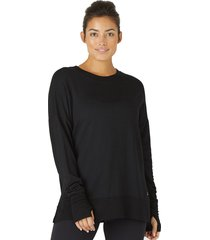glyder women's lounge long sleeve t-shirt - cocoa - small spandex