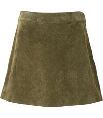 saint laurent suede trapeze mini skirt - green