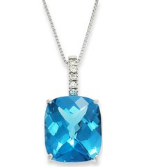 14k white gold necklace, blue topaz (7 ct. t.w.) and diamond pendant