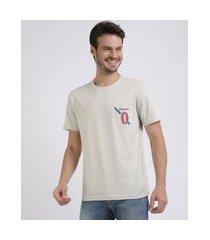 camiseta masculina original com bolso estampado manga curta gola careca off white