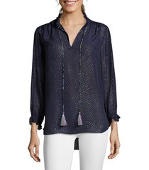 robert graham women's lizzy tassel-tie silk-blend blouse - navy - size s