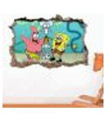 adesivo buraco na parede bob esponja e amigos - p 47x73cm