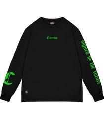 camiseta cuervo signed - longa preto - preto - dafiti