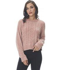 sweater trenzado chenille palo rosa corona