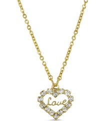 2028 14k gold dipped crystal accented love heart pendant necklace