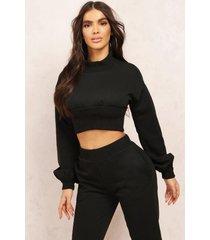 mix & match high neck deep waist crop sweater, black