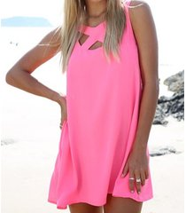 vestido de playa en color liso - rosa