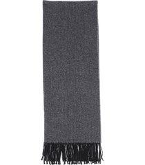 hermes cashmere fringe scarf black/gray/geometric sz: