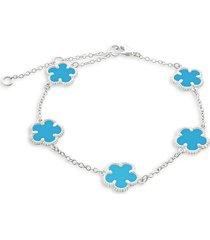 jan-kou women's flower rhodium-plated bracelet
